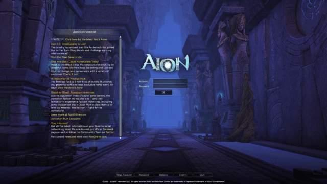 Aion Login Screen